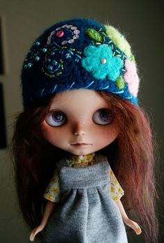 OOAK Ear Flap Helmet for Blythe - Felted Wool Crochet Hat - Little Aviator