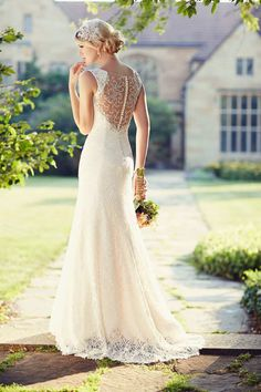 Love the lace back and shape of the skirt
