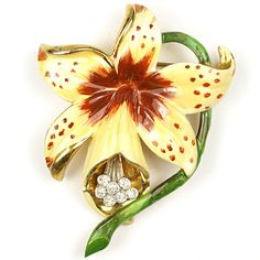 Alexander Korda 'Jungle Book' Gold and Enamel Yellow Orchid on Stem Pin, 1942; tied to the film