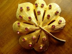 50s Brooch Gold Tone and Pink Rhinestones by jemimajay on Etsy, $12.50