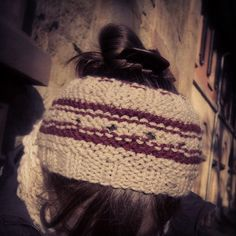 Fall Winter Headband! www.etsy.com/shop/suirenwaterlily Handmade, knitted, beige, plum, wool, custom orders, calorimetry style, hat, hippie chic, boho, ethnic, hipster, long hair, bun.