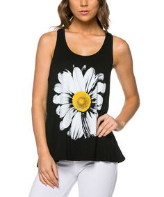 Love this Black & White Daisy Racerback Tank by Magic Fit on #zulily! #zulilyfinds