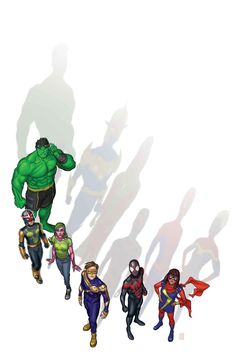 Champions variant cover by Michael Choi. Written by Mark Waid, interior pencils by Humberto Ramos, featuring: Champions · Hulk (Amadeus Cho) · Ms. Marvel Dc Comics, Marvel E Dc, Marvel Avengers, Marvel Universe, Young Avengers, Marvel Comic Character, Marvel Comic Books, Comic Books Art, Comic Art
