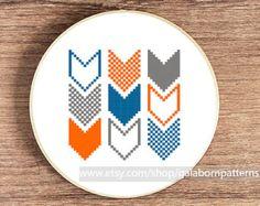 Modern cross stitch - Counted cross stitch pattern PDF - Geometric - Chevron4