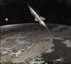 Retro sci-fi rocket by Chesley Bonestell. Diesel Punk, Retro Rocket, Classic Sci Fi, Vintage Space, Science Fiction Art, Space Travel, Sci Fi Art, Space Exploration, Fantasy Art