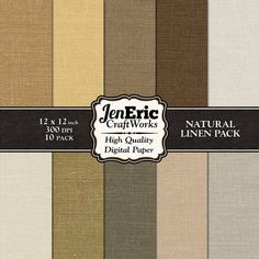 Linen Brown Beige Natural Earth Tone Digital by JenEricCraftWorks, $3.99