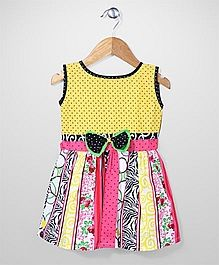 Babyhug Sleeveless Multi Print Frock - Yellow & Red