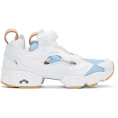 Reebok Classics White Joyrich Edition Instapump Fury Sneakers (7.665 RUB) ❤ liked on Polyvore featuring shoes, sneakers, white, reebok trainers, white low tops, reebok shoes, leather shoes and leather low top sneakers