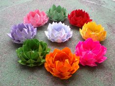 think origami lotuses to decorate your next box social or tupperware party!