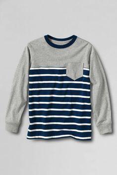 Boys' Long Sleeve Pattern Block Super T-shirt from Lands' End