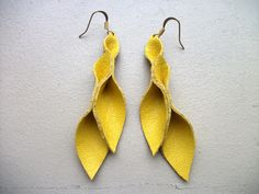 Petal Collection-  Yellow Leather Earrings
