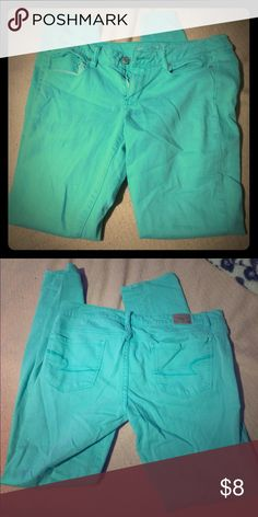 AE Skinny AE Seafoam Green Skinny Jeans Size 11 Tiny stain, barely noticeable. Hence lowered price. American Eagle Outfitters Jeans Skinny