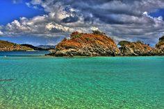 Trunk Bay, St. John. #Caribbean #USVI.  Click the image for more St. John beaches!