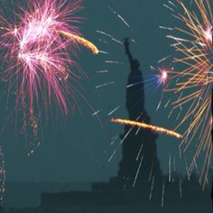 NYC PINK Fireworks and Statue of Liberty