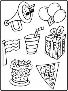* Dit hoort bij een feestje! Coloring Book Pages, Back To School, Doodles, Playing Cards, Party, Kids, Education, Drawings, Young Children