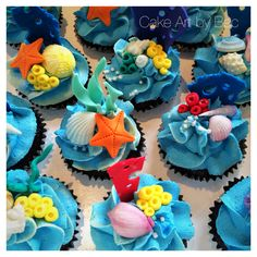 Under the sea cupcakes. By Cake Art by Bec. Sea Cupcakes, Cupcake Cakes, Cupcake Ideas, Toddler Birthday Cakes, Nemo Cake, Ocean Cakes, Octonauts Party, Little Mermaid Cakes, Bubble Guppies Party