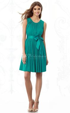 Turquoise Chiffon A-line Jewel Short/Mini Bridesmaid Dresses(BD850)