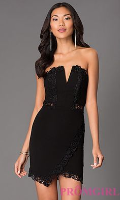Short Strapless Dress with Lace Embellishments LD1583 at PromGirl.com