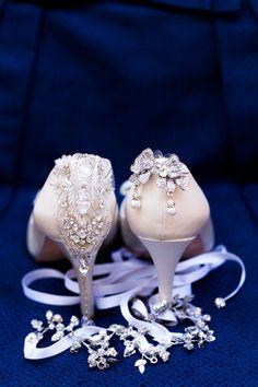 Jennifer Ling Photography - Virginia Photography - Sparkly jeweled wedding day shoes