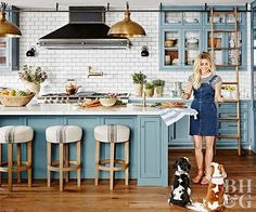 Julianne Hough kitchen from Better Homes and Gardens. Blue cabinets, subway tile, copper and wood accents.