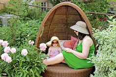 Aw, love mom and baby in the wicker egg sofa outside.  @Gail Regan Truax://makingitlovely.com/