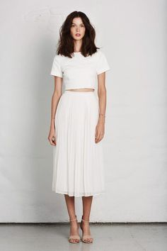 Image result for outfit with white pleated skirt