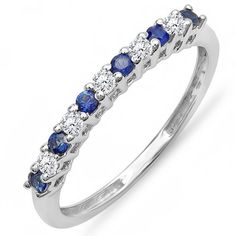 10K White Gold Round White Diamond  Blue Sapphire Anniversary Stackable Wedding Band -- You can get additional details at the image link.