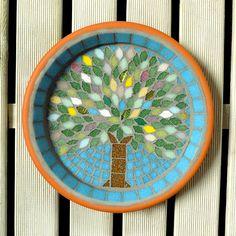 Spring Jewel Tree Mosaic Garden Yard Bird Bath Ornament