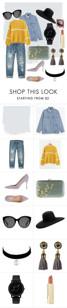 """Triad - bright spring"" by a-knight10118 on Polyvore featuring Monki, Hollister Co., Sergio Rossi, Silvia Furmanovich, Gucci, Maison Michel and Axiology"