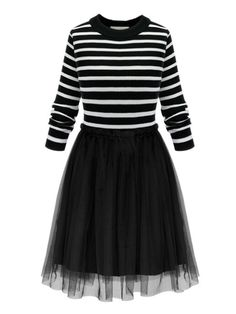 Sale 19% (25.77$) - Elegant Women Striped Mesh Patchwork Knitted Party A-line Dress