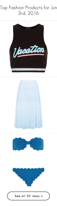 """""""Top Fashion Products for Jun 3rd, 2016"""" by polyvore ❤ liked on Polyvore featuring tops, black, striped top, crop top, stripe crop top, stripe top, striped crop top, skirts, pale blue and pleated skirt"""