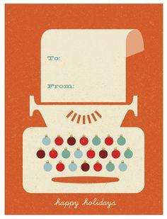 holiday typewriter - too cute. Christmas Gift Tags, Vintage Christmas Cards, Holiday Cards, Xmas, Christmas Graphics, Retro Design, Flat Design, Design Design, Graphic Design