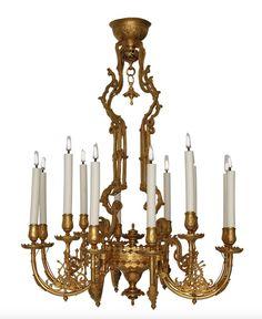 Lustre en bronze doré Japonisant à Douze lumières, France vers 1860 - Galerie Lumières GL00183