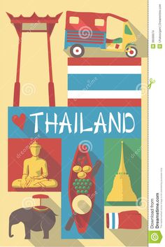 Thailand Symbols On A Poster Or Postcard Stock Images - Image ...