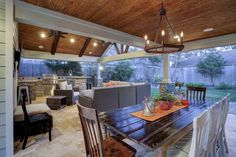 Outdoor kitchen and dining Houston Outdoor Kitchen Design, Patio Design, House Design, Outdoor Rooms, Outdoor Dining, Outdoor Decor, Outdoor Kitchens, Outdoor Ideas, Outdoor Fireplace Patio