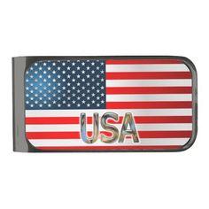 USA Flag Gunmetal Finish Money Clip