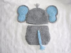 Baby Boy Elephant Hat with Matching Diaper Cover Set~Photo Prop~Newborn Diaper Set~ Crochet Elephant Diaper Set~Blue and Gray Diaper Set on Etsy, $28.00