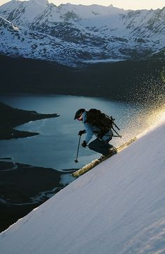 It's a beautiful world — Skiing above Sorfjorden in Lyngen Alps, Norway (by...