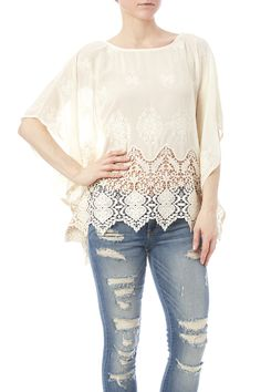 Semi sheer ponchodetailed with lace embroidery 3/4 sleeves and a boat neckline.  St. Ann's Bay Poncho by Ya Ya Club Clothing. Clothing - Tops - Blouses & Shirts Texas