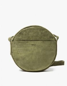 From Baggu and exclusive to Need Supply Co., a soft suede circle purse in Olive…