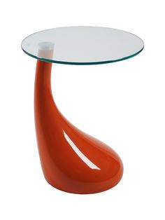 Contemporary End Table w Round Glass Top - Julia