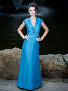 Sheath/Column V-neck Taffeta Floor-length Beading Bridesmaid Dresses