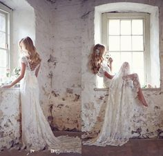 High Quality High Quality Romantic Lace Wedding Dresses 2016 Cap Sleeve V Neck Bridal Gowns Backless Sweep Train Bride Dress //Price: $US $94.05 & Up To 18% CASHBACK //     #lingerieaddicted