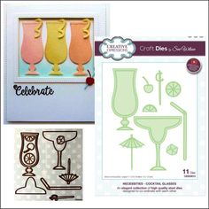 Cocktail Glasses metal die set Creative Expressions Sue Wilson cutting dies handmade cards & scrapbook pages - use in most machines Diy Cards, Handmade Cards, Margarita Drink, Coffee Crafts, Cocktail Glass, Wine And Beer, Craft Items, Scrapbook Pages, Scrapbooking