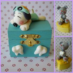 tiny wooden boxes decorated with polymer clay figurine