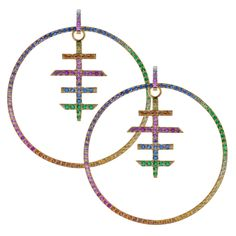 Robinson Pelham Circus Circle earrings, composed of sapphires and tsavorites set in 18ct yellow gold