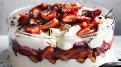Strawberry, sauternes and mascarpone trifle by neil Perry Strawberry Trifle, Strawberry Desserts, Dessert Bread, Dessert Recipes, Trifle Recipe, Recipe Recipe, Good Food, Yummy Food, Mascarpone