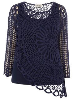 Sienna Couture Blue Crochet Top