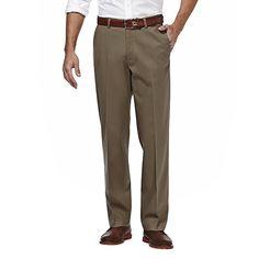 Men's Haggar Premium No Iron Khaki Stretch Straight-Fit Flat-Front Pants, Size: