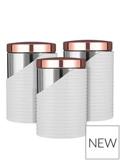 Set of 3 Tower White And Rose Gold Cannisters kitchen accessories Buy Set of 3 Tower White And Rose Gold Canisters from the Next UK online shop